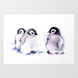 Penguins, penguin design baby penguin art, children gift Art Print