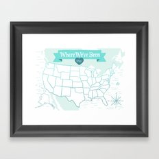 Where We've Been, USA, Icy Blue Framed Art Print