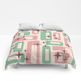 Retro Mid Century Modern Abstract Pattern 222 Dusty Rose and Pastel Green Comforters