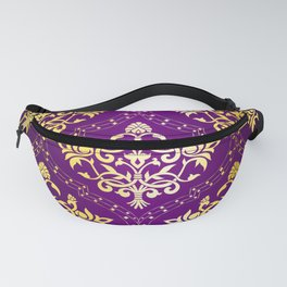Gold vintage damasks with purple background Fanny Pack