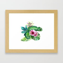watercolor green chameleon Framed Art Print