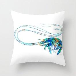 Blue Shrimp Art by Sharon Cummings Throw Pillow