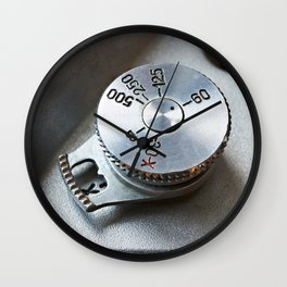 Control dial shutter speed on retro SLR camera Wall Clock