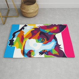 Colorful Dog Inside Rug