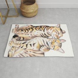 Bengal Cats Love Watercolor Ink Art Rug