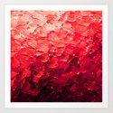 MERMAID SCALES 4 Red Vibrant Ocean Waves Splash Crimson Strawberry Summer Ombre Abstract Painting by ebiemporium