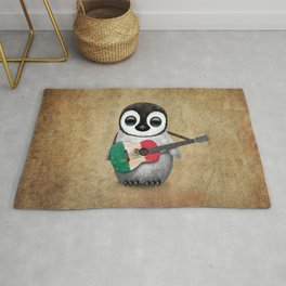 Baby Penguin Playing Mexican Flag Guitar Rug