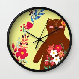 Floral Bear Wall Clock