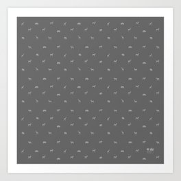 SMALL ANIMALS PATTERN in shades of grey Art Print