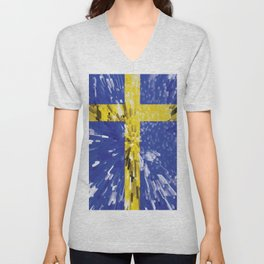 Extruded Flag of Sweden Unisex V-Neck