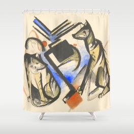 "Franz Marc ""Two Wolves"" Shower Curtain"