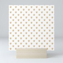 Gold Metallic Faux Foil Photo-Effect Bees on White Mini Art Print