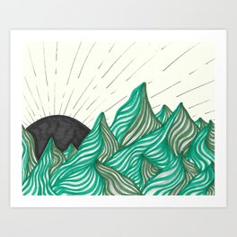 green abstract mountains Art Print
