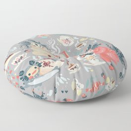 Tea Spirit pattern Floor Pillow