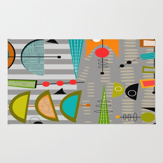 Mid Century Modern Abstract Atomic Art Rug By Kippygirl