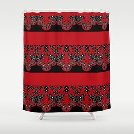 Red vintage lace on black background . Shower Curtain