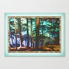 MOUNTAIN LAKE THROUGH HEMLOCK TREES Canvas Print