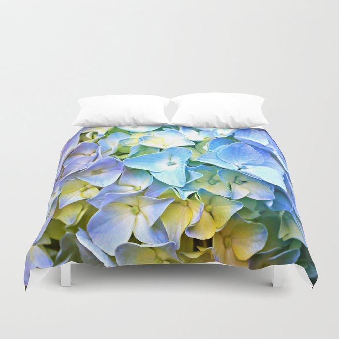 Soft Pastel Tri-Color Hydrangea Duvet Cover