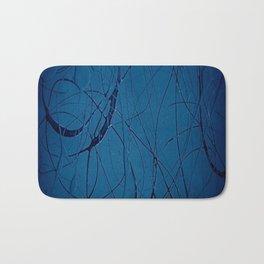 Navy Blue - Jackson Pollock Style Art - Abstract - Expressionism - Modern Bath Mat