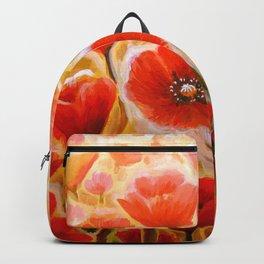 Papaver rhoeas poppy field Backpack