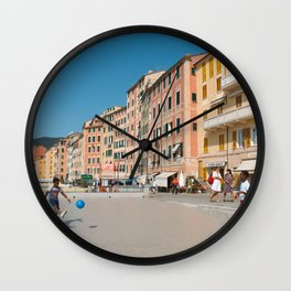 Amalfi, pastel dream houses with kids playing | Mediterranean Coast, Italy | Colorful travel photography in Europe | Horizontal art print Wall Clock