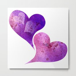 Purple and Pink hearts Metal Print