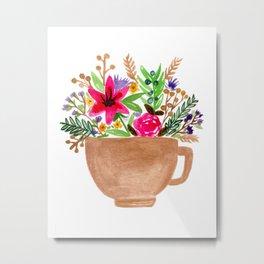 Teacup Flowers Metal Print