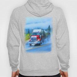 Driving Rain IV - Highway Truck in Rainstorm Artwork Hoody