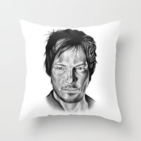 daryl dixon Throw Pillows featuring Daryl Dixon by 13 Styx