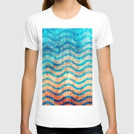 Fun Psychedelic Blue and Gold Wave Pattern T-shirt