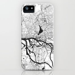 Hamburg City Map Gray iPhone Case