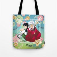 inuyasha Tote Bags featuring Inuyasha & Kagome by Neo Crystal Tokyo
