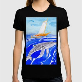 humpback whale and polynesian outrigger sail boat T-shirt