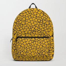 Mustard Black Animal Skin Pattern Backpack