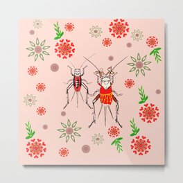 ditsy crickets pink floral Metal Print