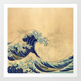 Hokusai parchment Art Print