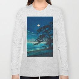Vintage Japanese Woodblock Print Moonlight Over Ocean Japanese Landscape Tall Tree Silhouette Long Sleeve T-shirt