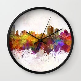 New Haven skyline in watercolor background Wall Clock