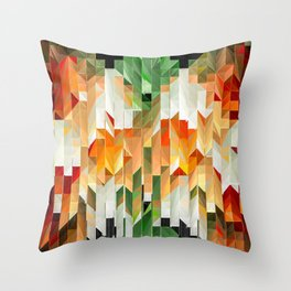 Geometric Tiled Orange Green Abstract Design Throw Pillow