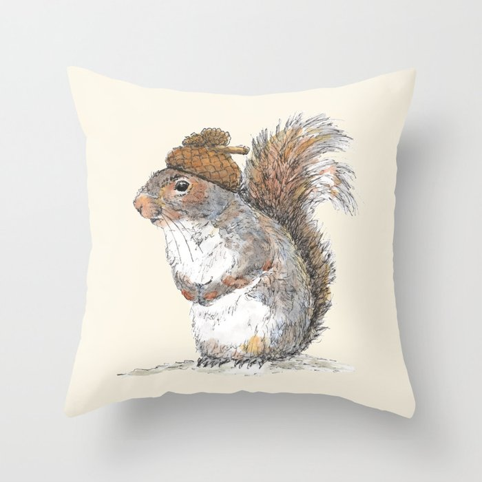 Squirrel with an Acorn Hat Throw Pillow