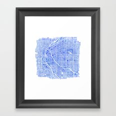 Denver Blueprint City Map Watercolor Framed Art Print