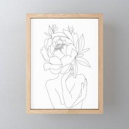 Minimal Line Art Woman Flower Head Framed Mini Art Print