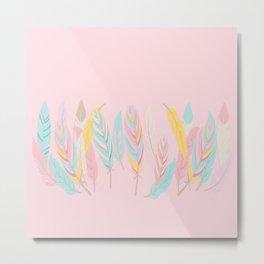 Bohemian Feathers Sweet Pink Illustration Metal Print