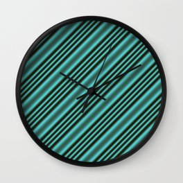 Black and Teal Modern Stripes Wall Clock