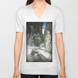 Winding road down Mt.Baw Baw Unisex V-Neck