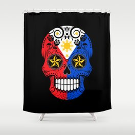 Sugar Skull with Roses and Flag of Philippines Shower Curtain