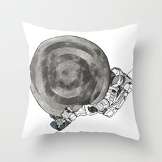 Troubled Moons and Spacemen Throw Pillow