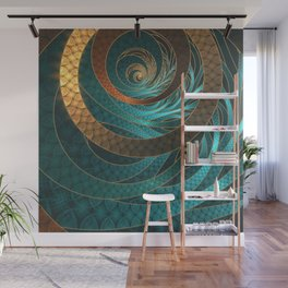 Beautiful Corded Leather Turquoise Fractal Bangles Wall Mural