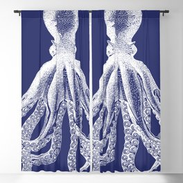 Octopus   Vintage Octopus   Tentacles   Navy Blue and White   Blackout Curtain