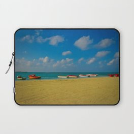 Colorful Boats Adorn the Tranquil Beach Laptop Sleeve
